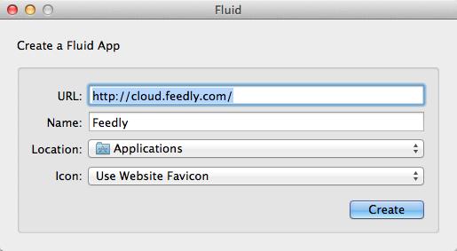 FluidApp для Feedly